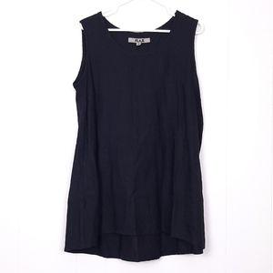 Flax sleeveless black 100% linen tunic dress